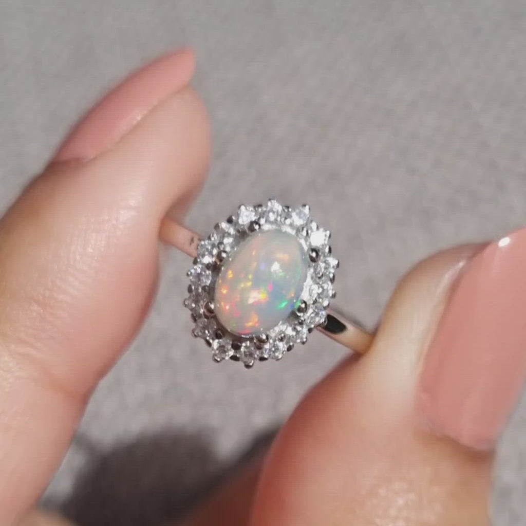 Genuine Natural Opal Ring in Sterling Silver - Engagement, Promise Ring, Statement, Gemstone Ring, Anniversary, Birthday, Gift for Her, Mum