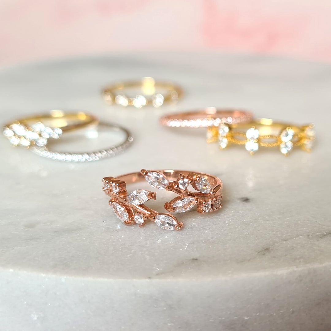 18k Rose Gold Plated Adjustable Leaf Ring