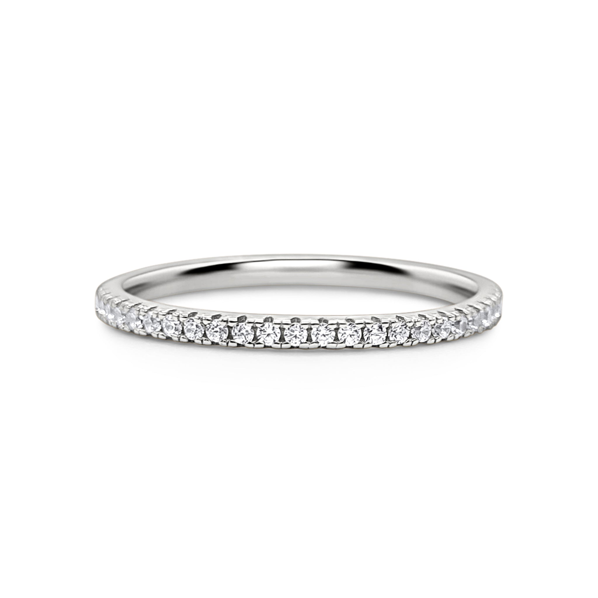 Sterling Silver Full Band Eternity Ring (Thin Band) - Stackable, Minimalist, Dainty Ring, Birthday, Anniversary, Gift For Her, Wedding Band
