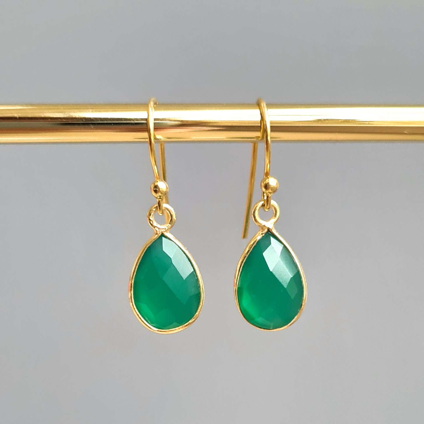 18k Gold Vermeil Green Onyx Drop Earrings
