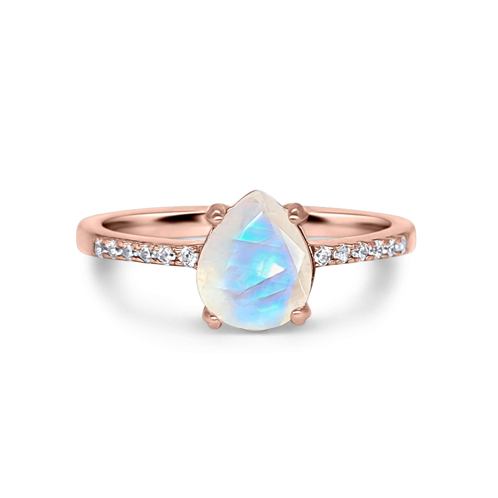 18k Rose Gold Vermeil Rainbow Moonstone Ring