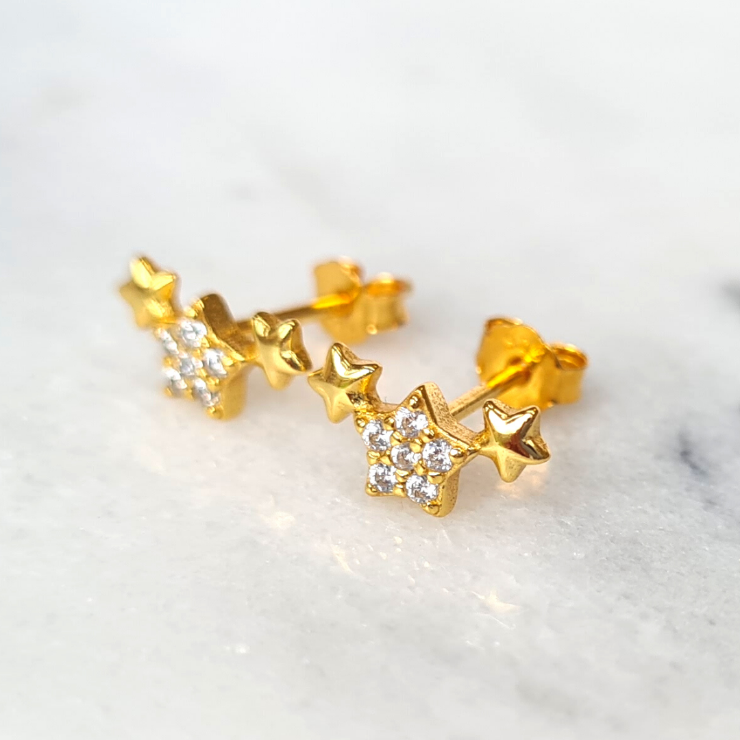 18k Gold Plated Trio of Stars Earrings
