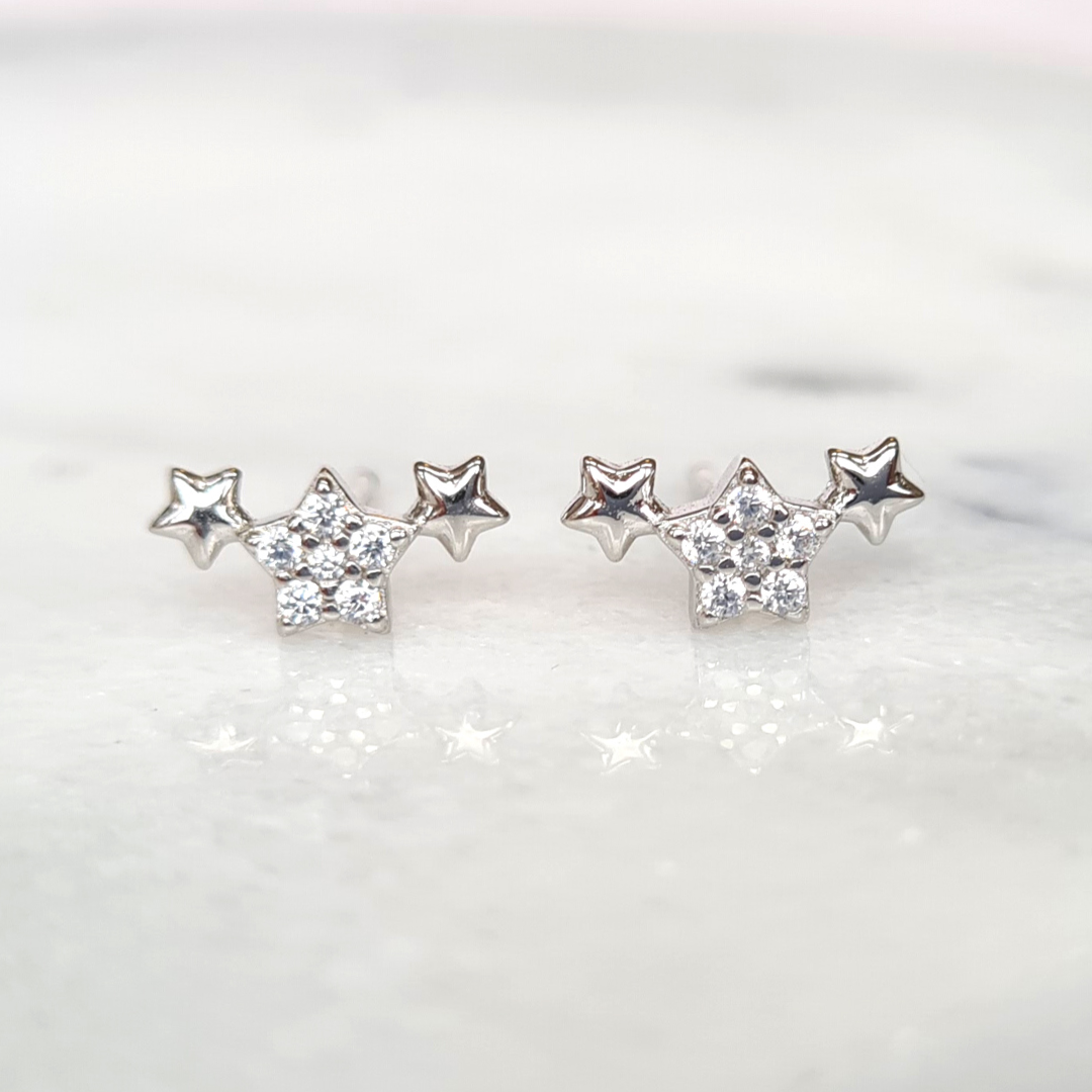 Sterling Silver Trio of Stars Earrings