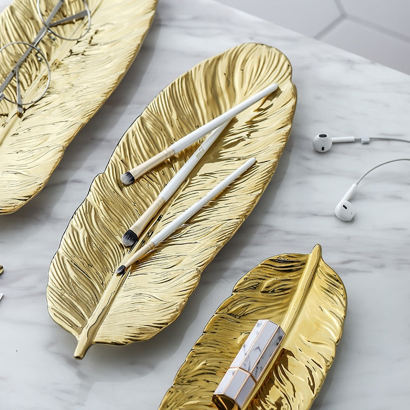 Gold Feather Shape Ceramic Jewelry Plate