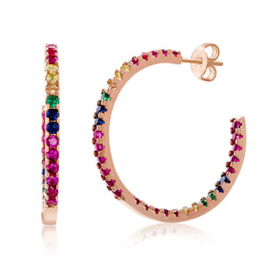 Load image into Gallery viewer, Candy Lover Rainbow Pave Swarovski Hoop Earring