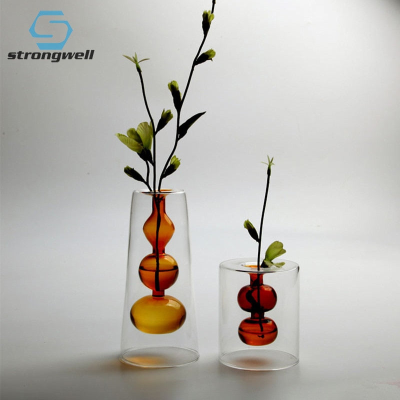 Double Layer Color Glass Vase