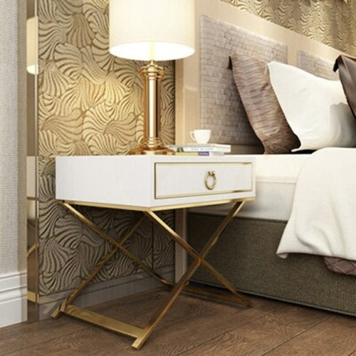 Load image into Gallery viewer, White Black Golden NightStand End Table