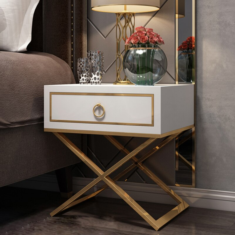White Black Golden NightStand End Table