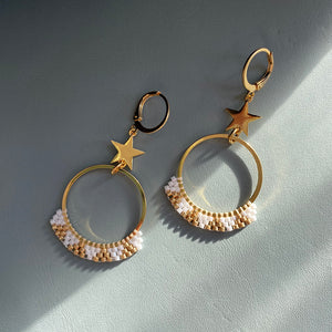 Load image into Gallery viewer, Frosted Star Dangle Earrings