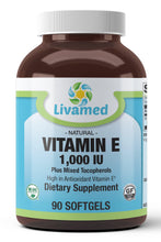 Load image into Gallery viewer, Livamed - Vitamin E 1,000 IU Plus Mixed Tocopherols Softgels 90 Count - Livamed Vitamins