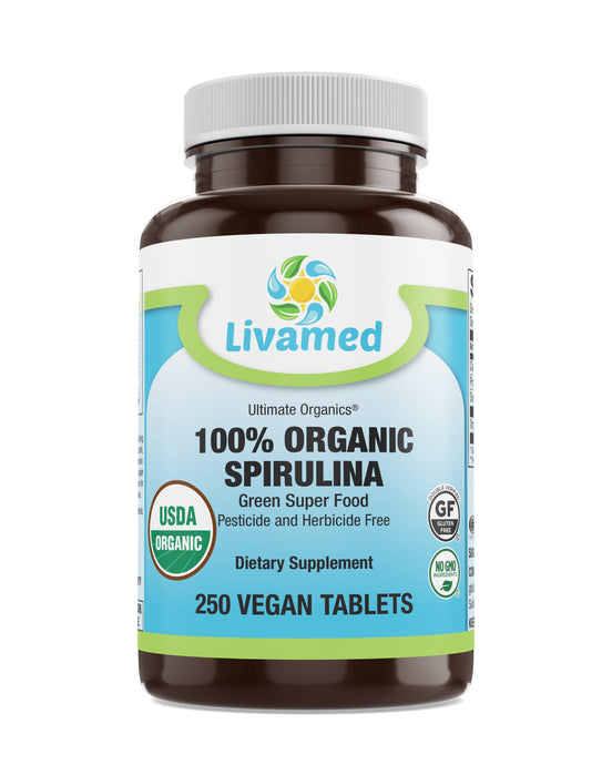 Livamed - 100% Organic Spirulina 500 mg Veg Tabs 250 Count - Livamed Vitamins