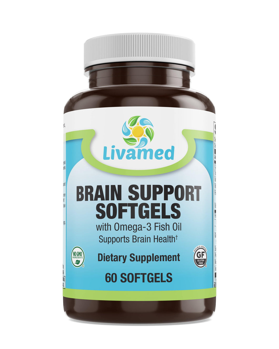 Livamed - Brain Support Softgels with Omega-3 Fish Oil 60 Count