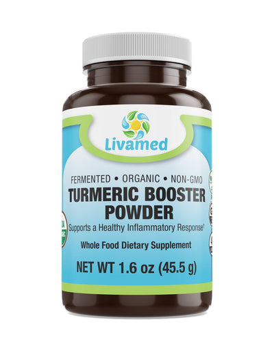 Livamed - Fermented Organic Turmeric Booster Powder with Black Pepper  1.6 oz Count - Livamed Vitamins