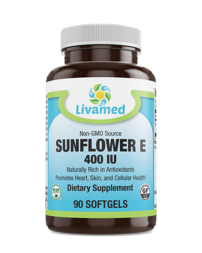 Livamed - Non-GMO Sunflower E 400 IU Softgels 90 Count - Livamed Vitamins