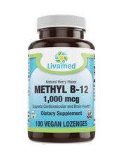 Load image into Gallery viewer, Livamed - Methyl B12 1,000 mcg Veg Lozenge - Natural Berry Flavor 100 Count