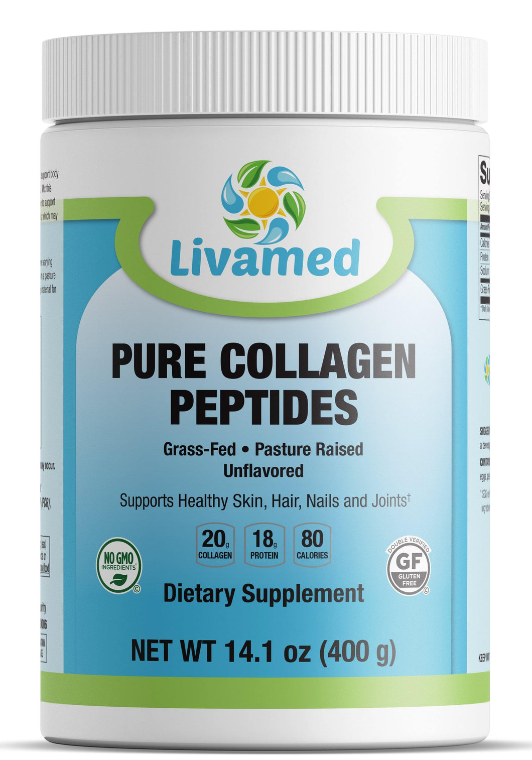 Livamed - Pure Collagen Peptides- Grass Fed & Pasture Raised 14.1 oz Count - Livamed Vitamins
