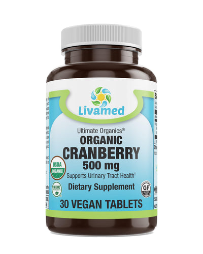 Livamed - Organic Cranberry 500 mg Veg Tabs  30 Count - Livamed Vitamins