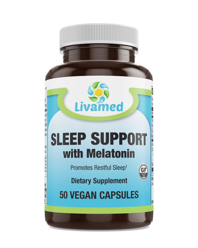 Livamed - Sleep Support with Melatonin Veg Caps 50 Count - Livamed Vitamins