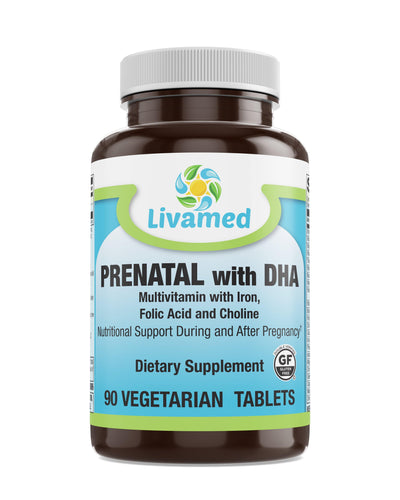 Livamed - Prenatal with DHA Veg Tabs 90 Count - Livamed Vitamins