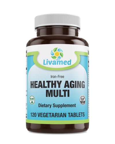 Livamed - Healthy Aging Multi Iron Free Veg Tabs 120 Count - Livamed Vitamins