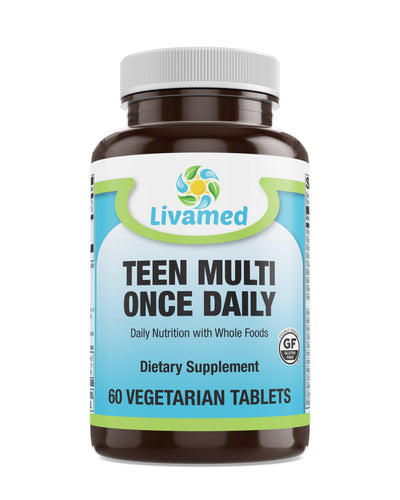 Livamed - Food Rich Teen Multivitamin Once Daily Veg Tabs 60 Count - Livamed Vitamins