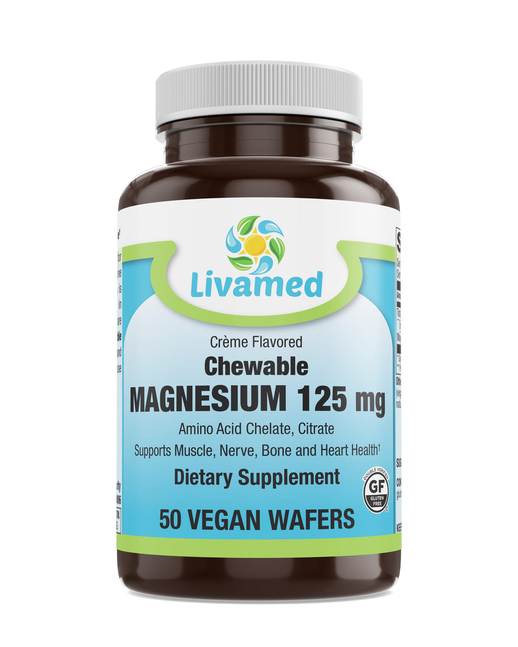 Livamed - Chewable Magnesium 125 mg Veg Wafer 50 Count