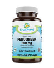 Load image into Gallery viewer, Livamed - Ultimate Extract Fenugreek 600mg Veg Caps 100 Count - Livamed Vitamins