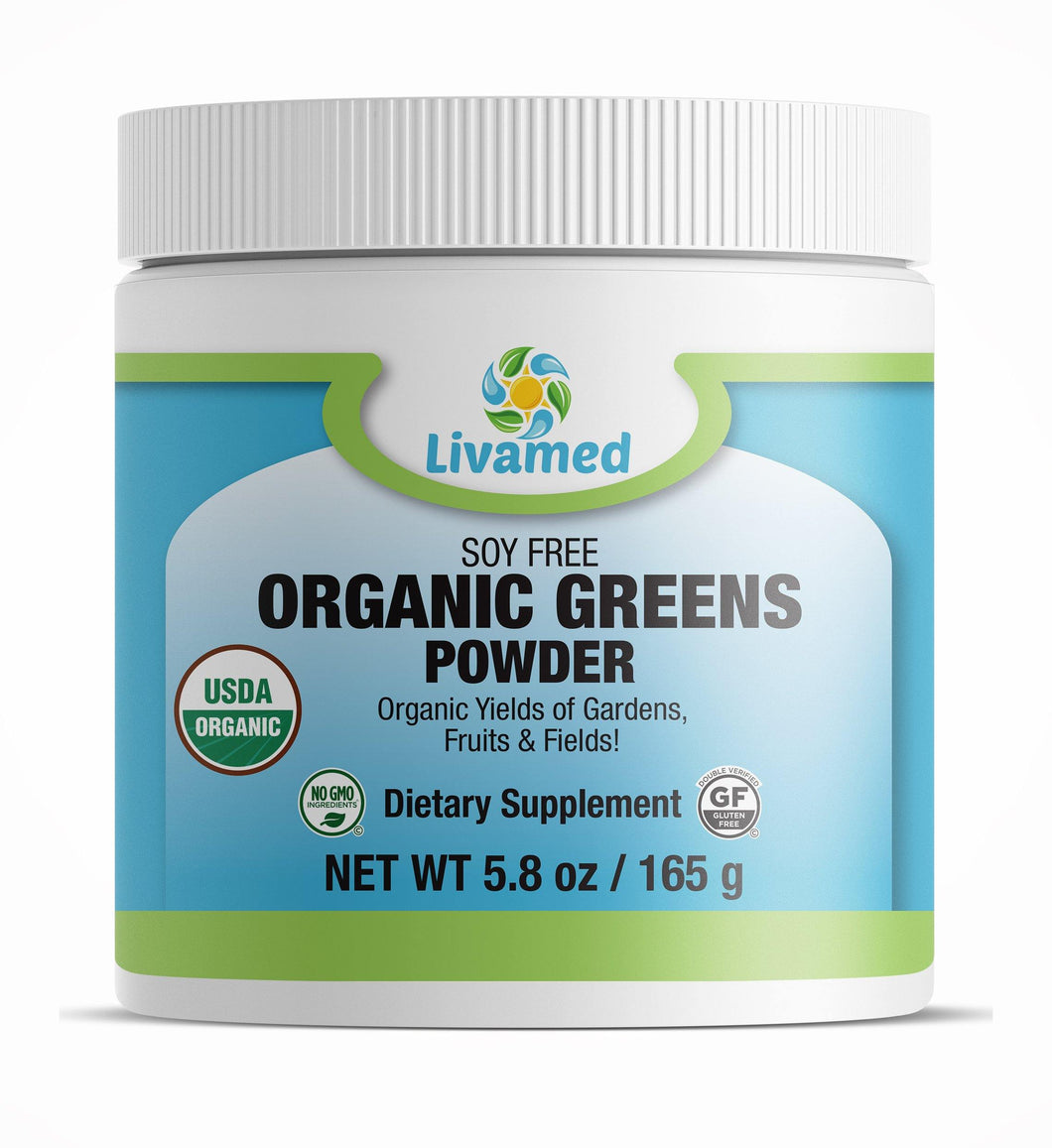Livamed - Organic Greens Powder Soy Free 5.8 oz Count - Livamed Vitamins