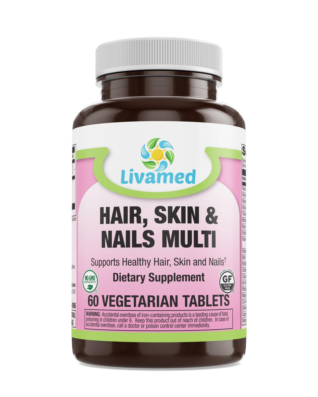 Livamed - Hair, Skin & Nails Multivitamin with Trace Minerals Veg Tabs - Livamed Vitamins