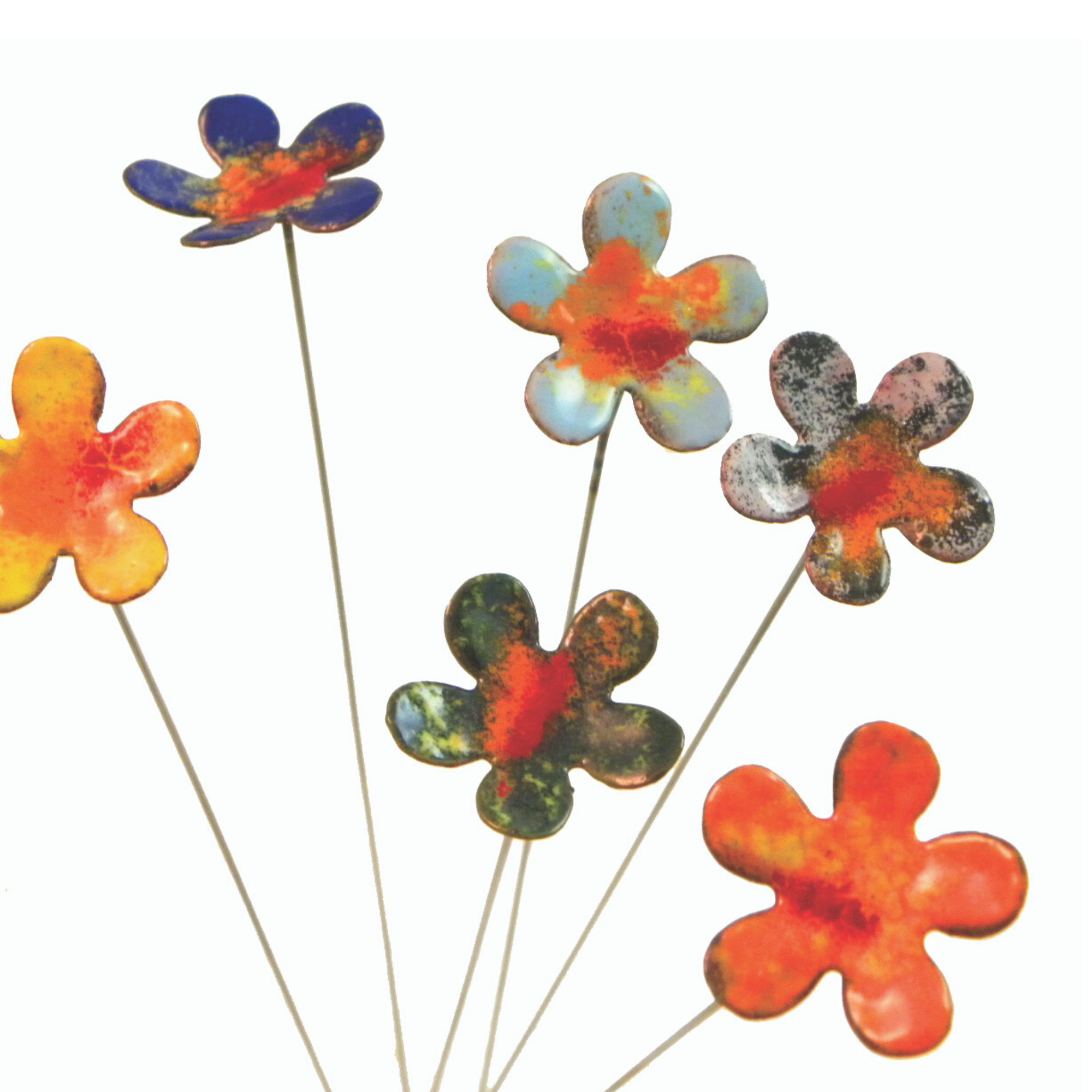 Small Copper and Enamel Flowers