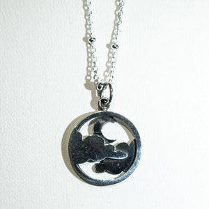 Dark Moon and Cloud Sterling Silver Necklace