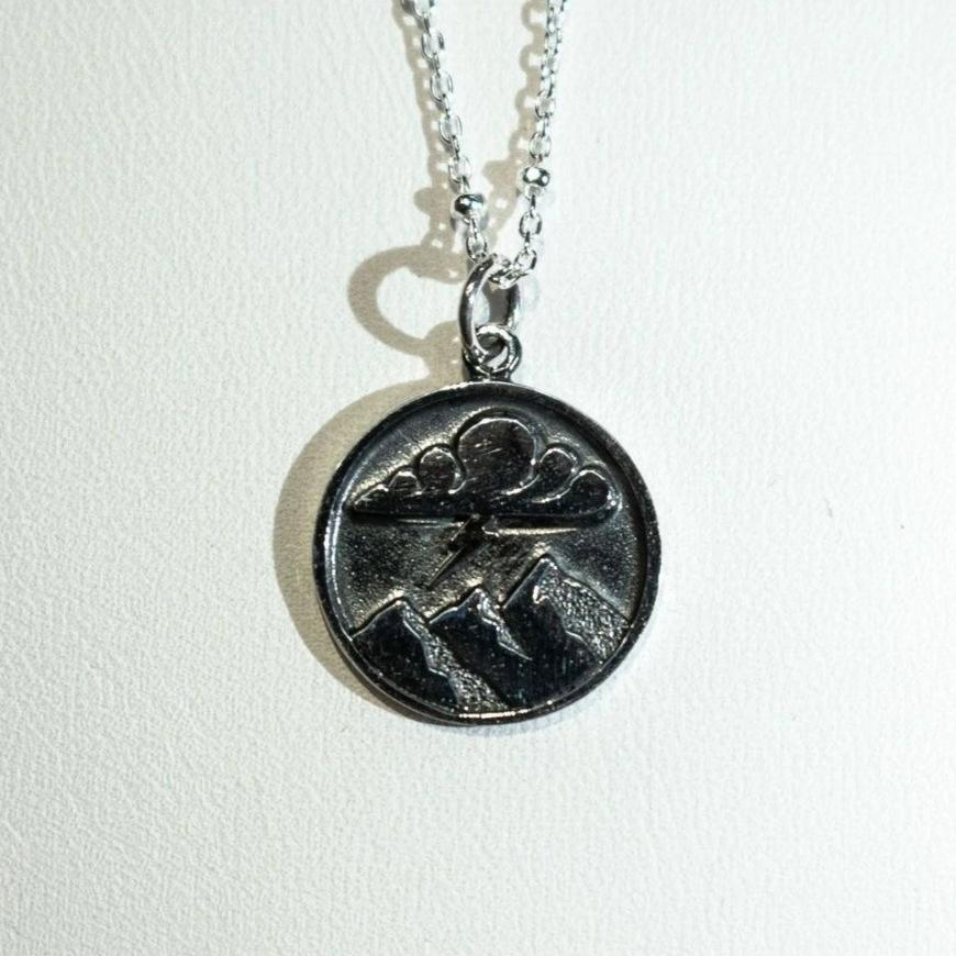 Sterling silver mountain pendant stormy mountain.