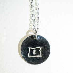 Oregon love silver stamp necklace.