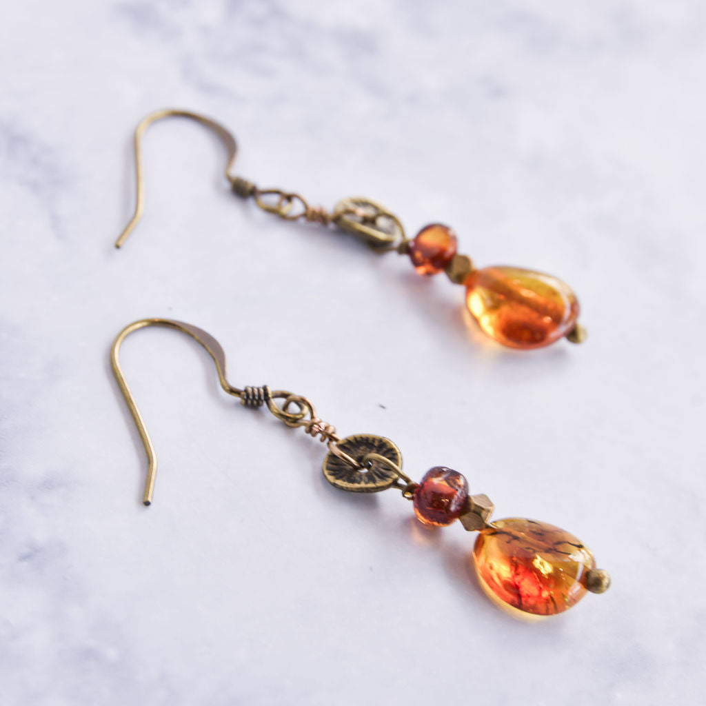 Baltic Amber Earrings on brass