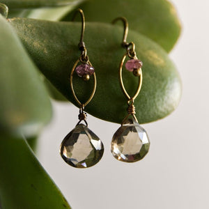 Quartz and Tourmaline Earrings