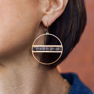 Labradorite heishi chip earrings on brass circle on ears