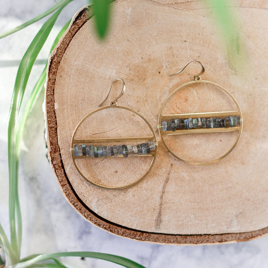 Labradorite heishi chip earrings on brass circle