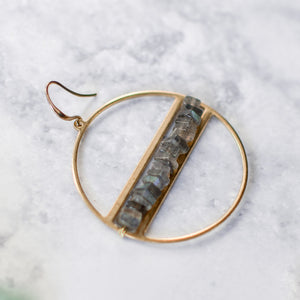 Close up of Labraodite heishi chip circular brass earring