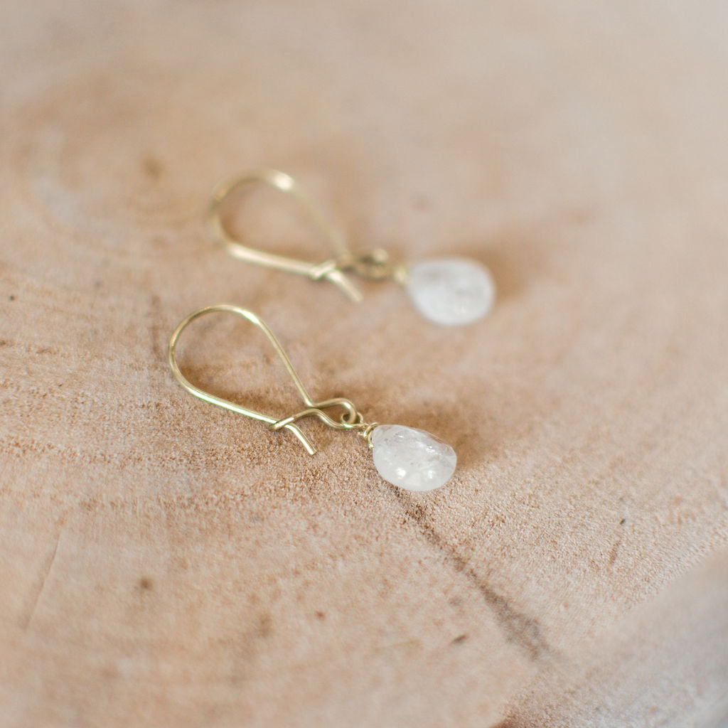 White moonstone earrings on brass