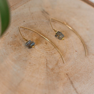 Labradorite heishi chip earwire earrings on brass