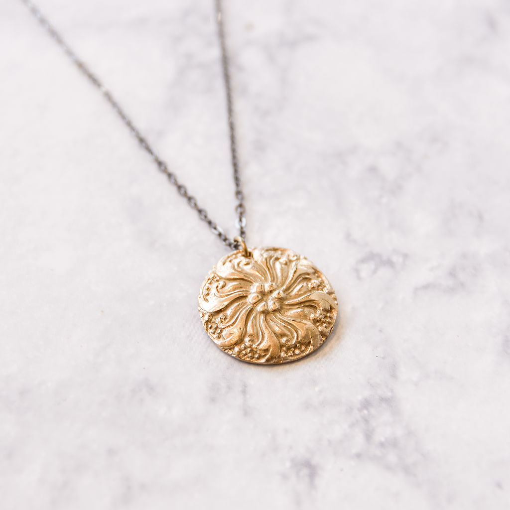 large floral bronze necklace