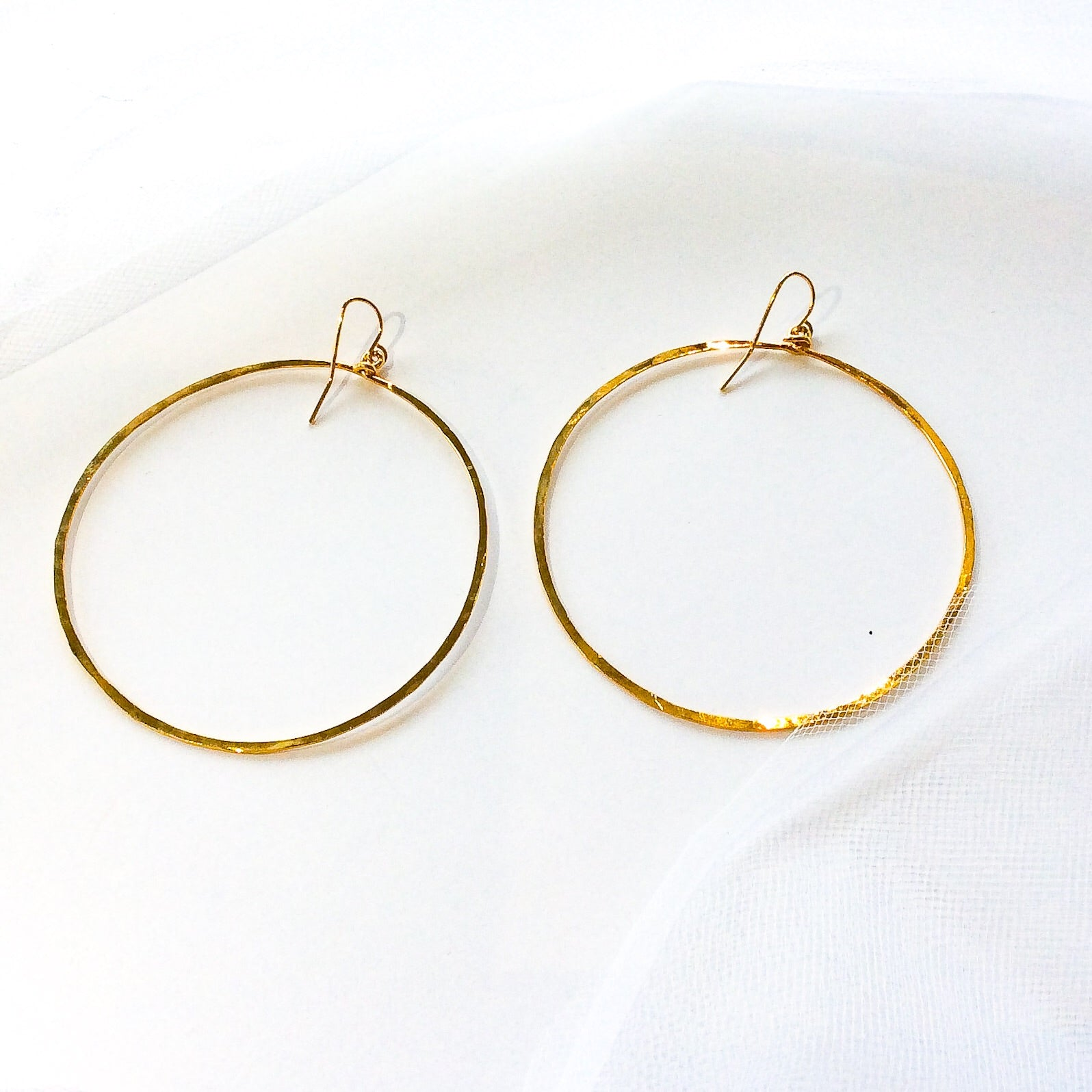 large gold plated hammered hoops