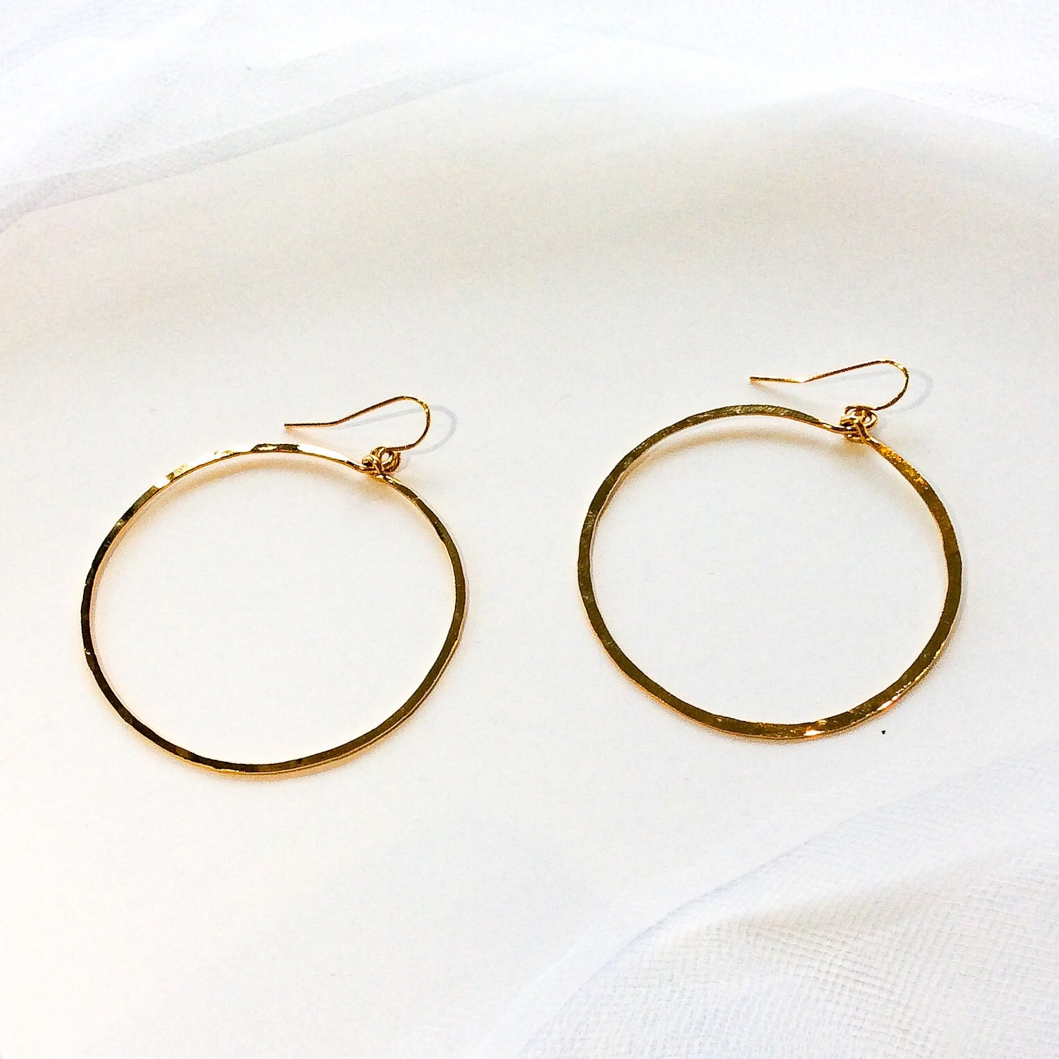 small gold plated hammered hoops