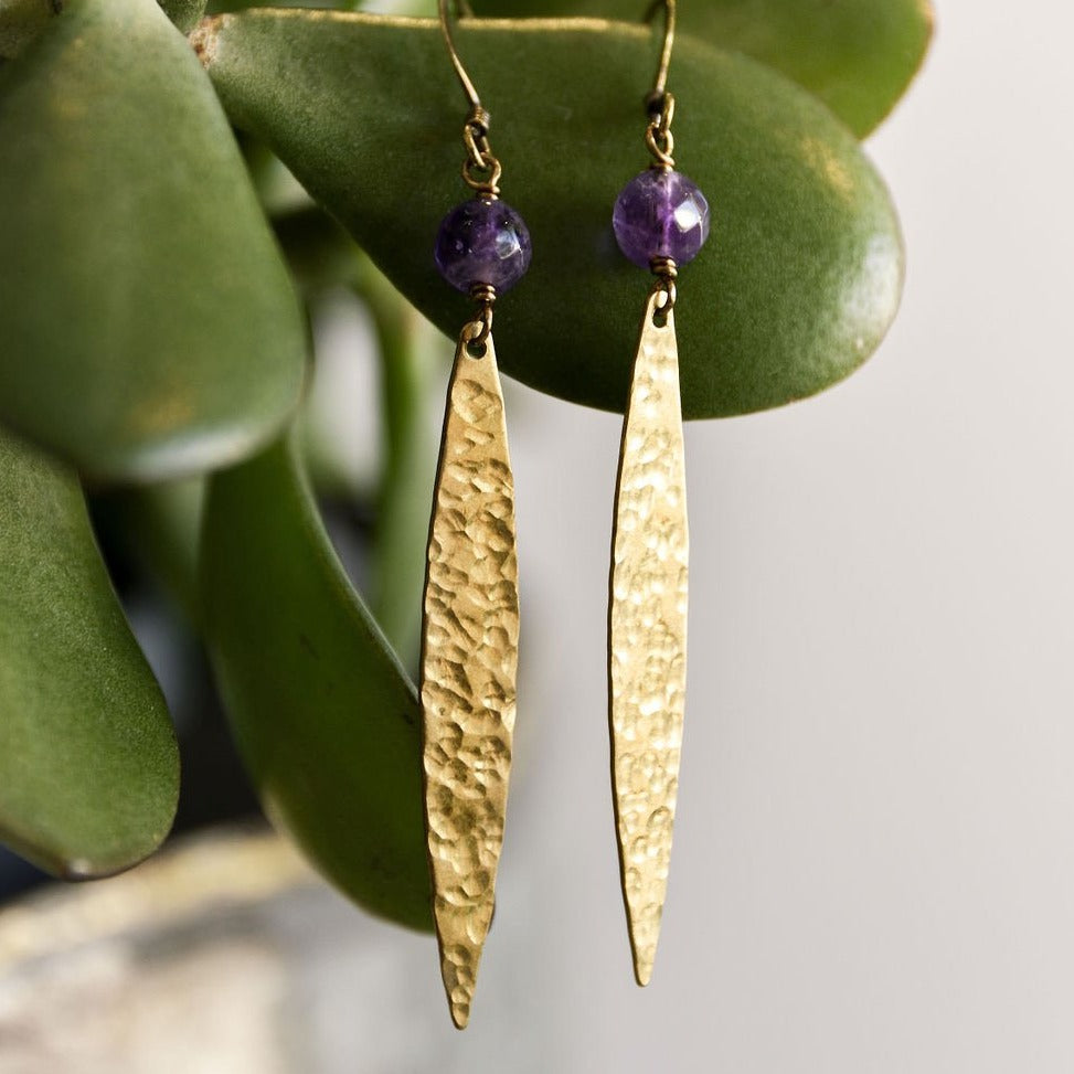 Hammered Raw Brass Earrings