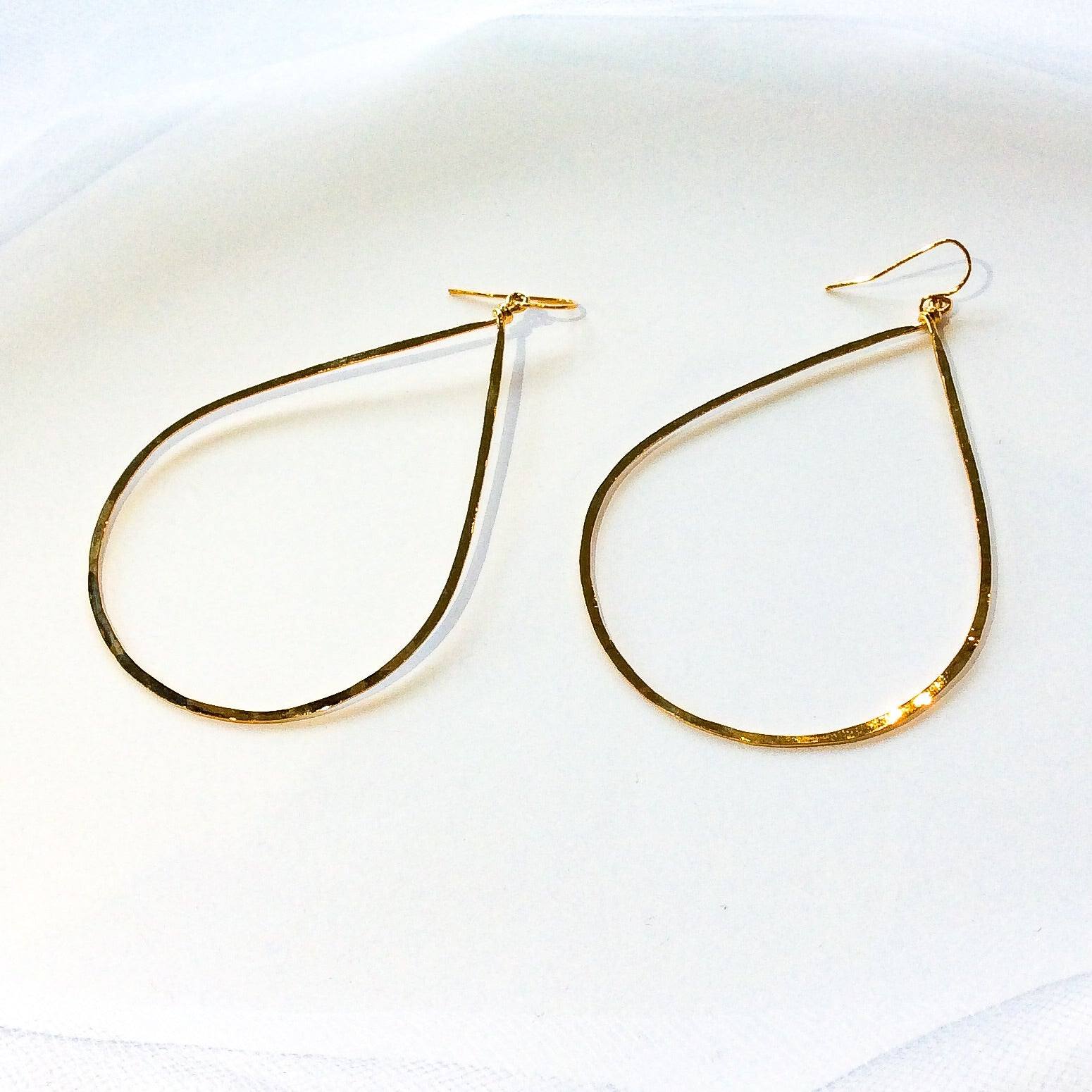large gold plated hammered teardrop hoops