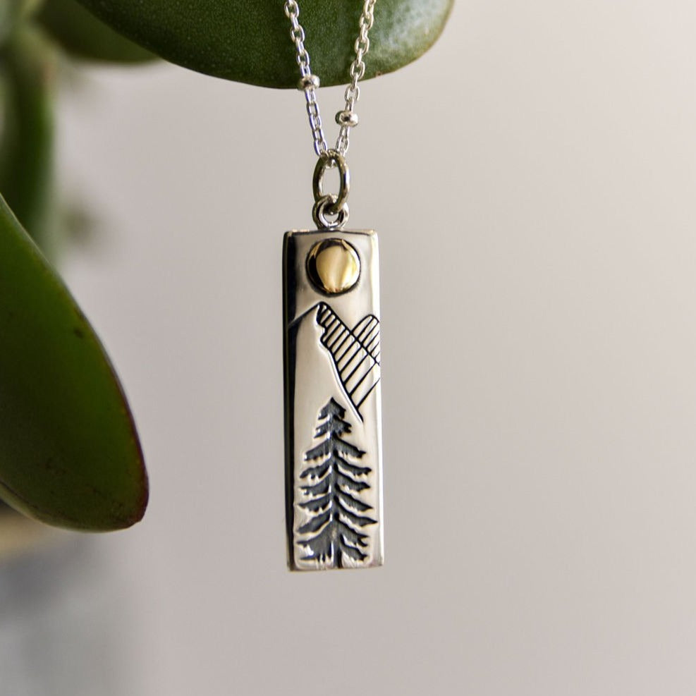 tree and mountain necklace