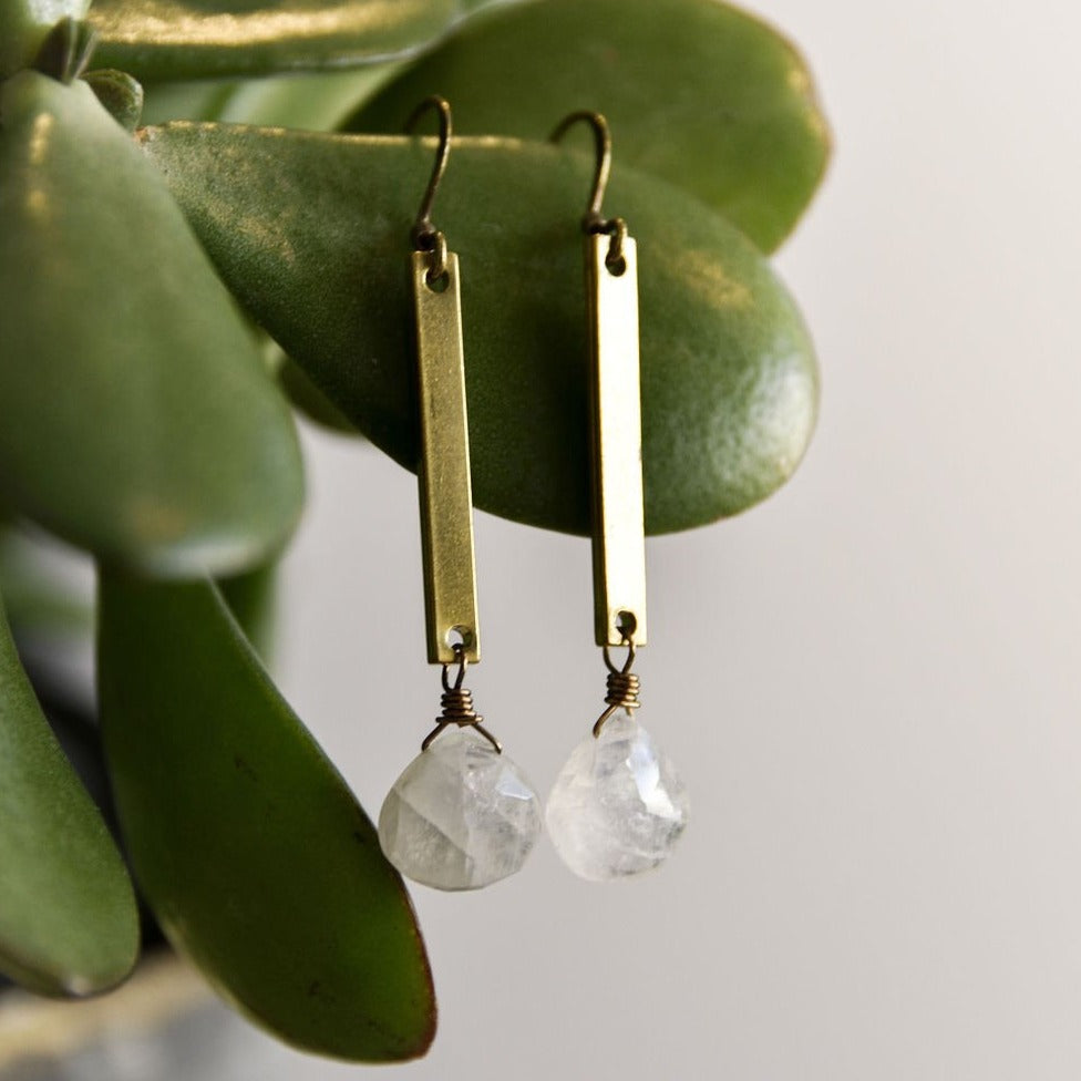 Bar Quartz Earrings