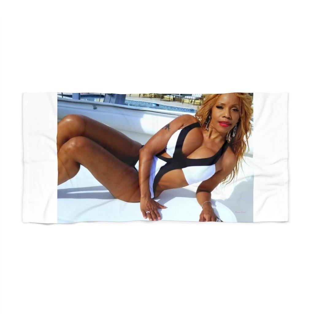 Black Strip Mono - Beach Towel Las Olas - TranceDiva