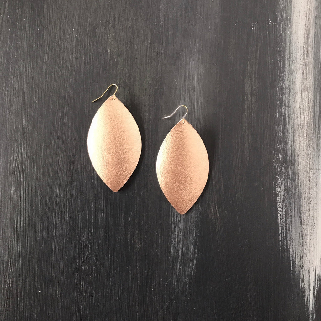 Reagan Rose Gold Leather Earrings