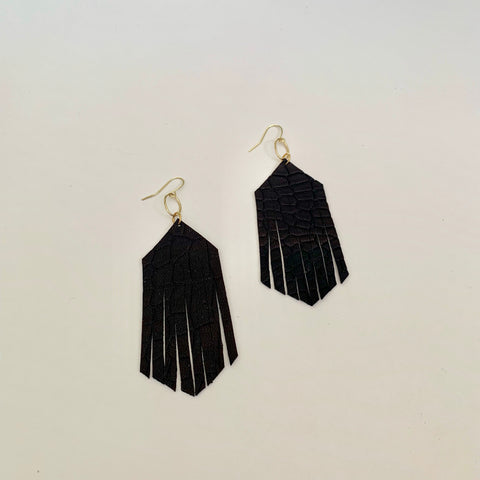 Forever Fringe Earrings - Black
